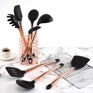 Cooking Tools Set Kitchen Utensils 10 11pcs Rose Gold Handle silicone kitchen accessories Non-stick Heat Resistant Kitchen Tools Q1123
