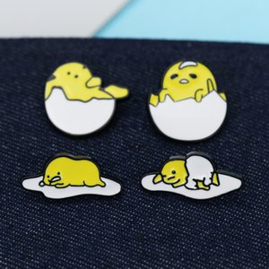 Wholesale japan brooch resale online - Japan Cartoon Chicken Poached Egg Brooch Pins Set Funny Creative Alloy Paint Lazy egg Brooches for Children Jewelry Gift Badge Shirt Pin