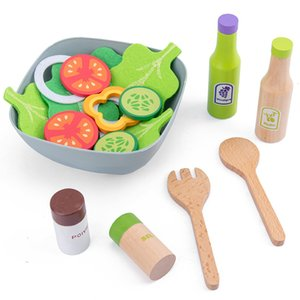 Wholesale toy kitchens resale online - Kids Wooden Kitchen Toys Pretend Play Kitchen Items Set Children Cooking Pots Pans Food Dishes Cookware Interactive Learning Toy LJ201009