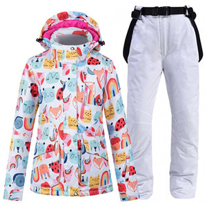 Wholesale girl's jacket resale online - Animal Colorful Women s Snow Wear Snowboarding Suit Sets Waterproof Windproof Winter Costume Ski Cloth Jacket Bibs Pant Girl s