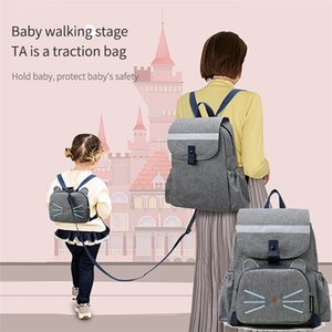 Wholesale kid backpack harness resale online - 2 In Diaper Bag Kid Bag High Quality Diaper Bag for Mom Baby Mommy Bags Waterproof Backpack Baby Care Baby Harness Backpack