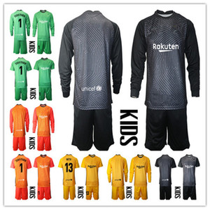 Kids Youth 2020-2021 Long Ter Stegen Goalkeeper Jersey Kit Soccer Sets #1 Marc-Andre Ter Stegen Kid Boys Goalkeeper Uniform Any Name Number