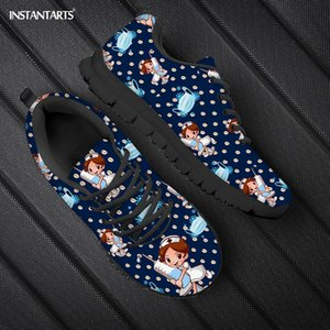 Wholesale shoes for nurses for sale - Group buy INSTANTARTS Fashion D Cartoon Nurse Bear Prints Flats Shoes Lace Up Sneakers for Teenage Girls Brand Design Woman Spring Autumn C1120