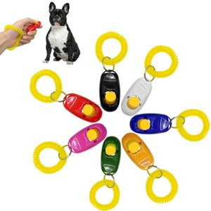 fernbedienung vibration großhandel-Universal Remote Portable Animal Dog Button Clicker Sound Trainer Pet Training Pfeife Werkzeug Control Handgelenk Band Zubehör Neue Ankunft DWF3304