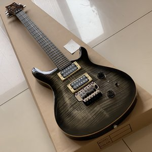 guitarra eléctrica azul negro al por mayor-PRS Negro Flame Maple Body Guitar Blue Strings Electric Guitar Hecho en China Alta calidad con envío gratis
