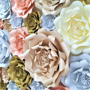 Wholesale birthday decorations paper flowers for sale - Group buy DIY Large Rose Giant Paper Flowers For Wedding Backdrops Decorations Paper Crafts Baby Nursery Birthday Video Tutorials Q1123