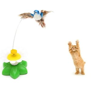 Wholesale pet birds resale online - Automatic Electric Rotating Cat Toy Flying Bird Plastic Funny Pet Dog Kitten Interactive Training Toys JK2012PH