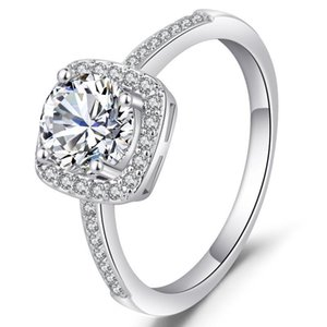 Wholesale square diamond rings resale online - Big Sale Original Sterling Silver Jewelry Rings for Women Square VVS1 Diamond Jewelry Bizuteria Silver Ring