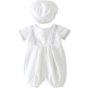 Wholesale boys shorts sets hats resale online - 2pcs Set Baby Clothes Summer Short Sleeve Shorts Romper Match Beret Hat Wedding Pageant Christening Outfit Cute Baby Boy Clothes Z1214