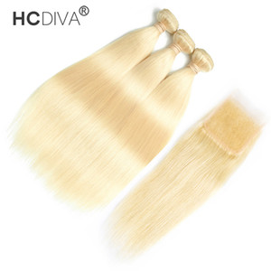 Wholesale 16 613 hair resale online - Peruvian Virgin Hair Straight Kinky Curly With Lace Closure with Baby Hair Brazilian Blond Hair Bundles with Closure