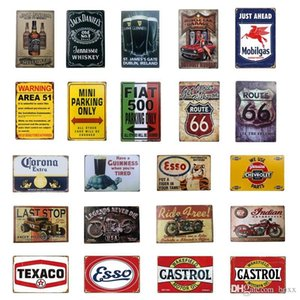 Wholesale rustic wall art decor resale online - 2021 Wall Arts Route ESSO Castrol Corona jack D Garage Gas Oil Bar Rustic Plaque Vintage Metal Tin sign Man Cave Pub Bar Decor X20CM