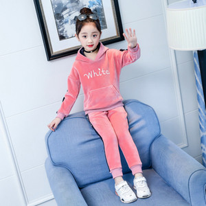 Wholesale boys tracksuit 12 resale online - Spring Velvet Girl Children s Clothing Set Fashion Tracksuit For Girls Boys Sports Suit Clothes Sets Girl Years Y1113