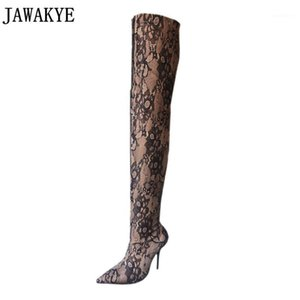 ingrosso tallone verde tacco alto coscia-Jawakye Woman Blue Green Velvet Velvet Thigh Stivali Alti Tacchi alti Stivaletti a punta Punta Pizzo Floral Over the Knee Sock Shoes1