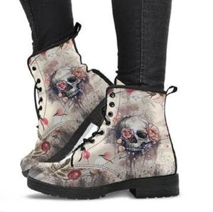 zapatos de trabajo de las mujeres al por mayor-Impresión digital Autumn Lady High Top Skull Pattern Boot Shoes British Pu Women s Fashion Work Boots