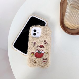 Wholesale apple sock resale online - Creative designer plush Christmas sock bear mobile phone case for Apple Huawei mobile phone models