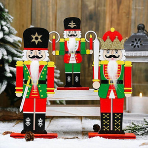 Wholesale doll soldier resale online - Wooden Nutcracker Soldier Doll Figurines Merry Christmas Decoration Office Home Display Ornaments Gift1