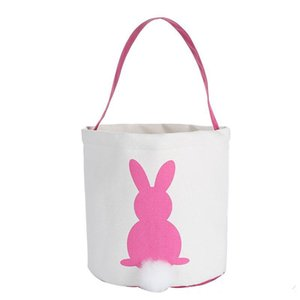 Wholesale good quality designer bags resale online - canvas easter basket bunny ears good quality easter bags for kids gift bucket Cartoon Rabbit carring eggs Bag DHF3963
