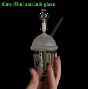 Wholesale sandblasted starbucks cup bong resale online - Girl s love cute mini starbuck glass bong Starbucks Cup glass bongs sandblasted glass pipes for smoking water bongs and nail hookah