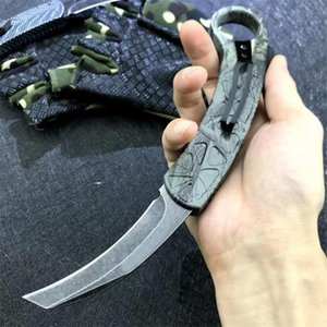 Wholesale karambit knife outdoor resale online - High Quality Auto Tactical Karambit Claw Knife C Black Stone Wash Blade Zn al Alloy Handle Outdoor Survival Knives With Nylon Sheath