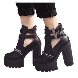 Wholesale belt buckle boot high heels for sale - Group buy SAGACE Fashion Wild Platform Shoes Women High Heel Ankle Boots Shoes Ladies Retro Belt Buckle Sewing Thick Bottom Ankle Boots