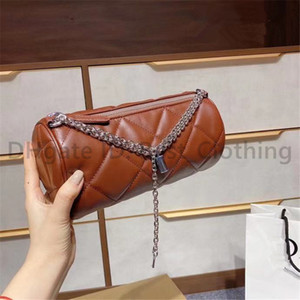 Wholesale diamond shapes resale online - Classic Luxury Designer Wodden Women Fashion Shoulder Bags Letter Chains Barrel shaped Diamond Lattice Check Tartan Lady Flap Clutch Bags