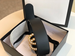 Wholesale black pearls free resale online - Classic best quality widths black genuine leather with pearl buckle women belt with box men belts men belts