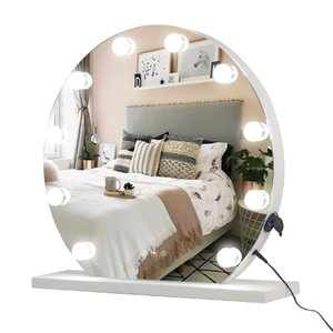 WACO Round Hollywood Mirror with Lights, Lighted Vanity Mirror for Makeup Table, Large Cosmetic Mirror w 12 LED Bulbs and Base