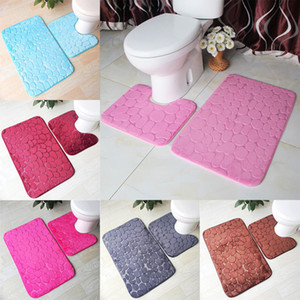 Wholesale bathrooms rugs resale online - Bath Mat Piece Set Cobblestone Pattern Toilet Cover Foot Pad Non slip Absorbent Bathroom Doormat Flannel Soft Bath Rug Carpet
