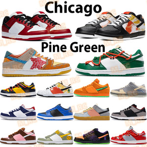 Wholesale cherry cream resale online - Chicago men women basketball shoes low sneakers university red yellow orange tie dye white black royal cherry pine green mens sports trainer