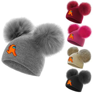 Wholesale outdoors kids games resale online - Among Us Hot Game Kids Knitted Hat two Pom Beanie Baby Double Fur Ball Wool Hat Children Boys Girls Windproof Warm Hat Outdoor Cap E122404