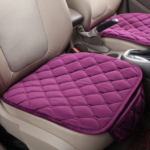 Wholesale quality seat covers cars resale online - Car Seat Covers Plush Backless Cars Accessories Non Slip Single Cushion With Pocket Rhombus Pattern Fashion High Quality rp G2