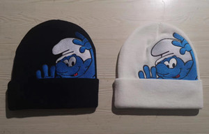 20FW Smurfs Beanie black white Winter Knitted Skullcap Adult Casual Hip Hop Hat Women Men Acrylic Beanie Cap Unisex Solid Color Keep Warm