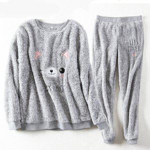Wholesale sleep coats resale online - Thick Sleepwear Winter Women s Pajamas Embroidery Cute Cat Plush Warm Casual Pyjama Big Size Sleep Tops Long Coat Pant