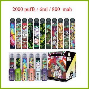 Newest Disposable vape pen Device 800mah battery 6ml pods 2000 puffs vape starter kit vs puff plus