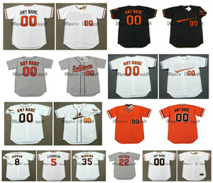 Vintage 5 BROOKS ROBINSON Jerseys 8 CAL RIPKEN 15 HOYT WILHELM 22 JIM PALMER 35 MIKE CUELLAR 26 BOOG POWELL PAUL BLAIR Retro Baseball