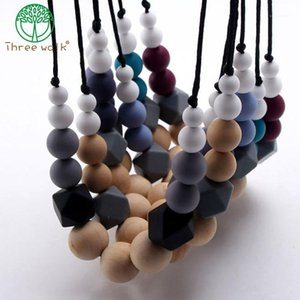 Wholesale teething necklaces resale online - fashion chewable silicone original wood beads necklace baby teething teether holder toy diy teething necklace for mom no BPA1