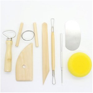 8pcs Pottery Tools Set Pottery Ceramics Molding Clay Tools Stainless Steel Wood Sponge Ceramic Tool