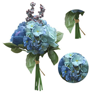 ingrosso fiori di poliestere artificiale-Bouquet da sposa Polyester Roses Holder Flowers Bouquet da sposa Bridal Bouquets Artificial Bridesmaids Accessori Bouquet