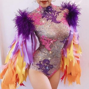 Wholesale strip outfits resale online - Fashion Stage Wear Ribbon Strip Feather Sleeve Rhinestone Bodysuit Women Nightclub Bar Party Outfit Performance Dance Costume1