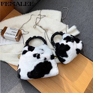 Wholesale plush animal handbags for sale - Group buy Furry Cow Pattern Plush Shell Designer Ruched Round Handle Crossbody Bag Women Soft Faux Fur Handbag Mini Beaded Chain Purse Q1208