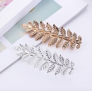 Wholesale sterling silver hair barrette for sale - Group buy Fashion baroque Contracted hair jewelry leaves hair clips spring barrettes gold silver hair clips for best gift