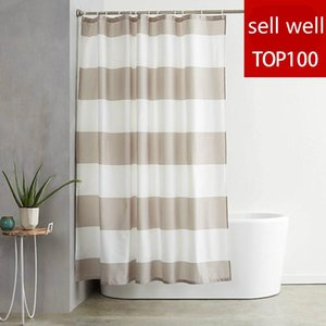 Wholesale farmhouse curtains resale online - Modern Stripe Waterproof Shower Curtain Waterproof Bathroom Curtain Toilet Laundry Room Farmhouse Decor Watertight Bath Curtains