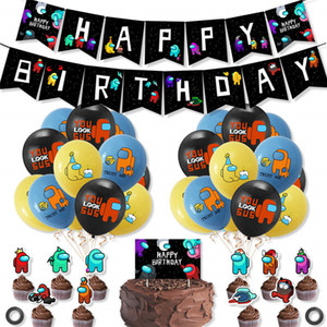 Wholesale cake flags resale online - among us Space Werewolf Killing banner Game Theme Party Balloon Flag Pulling Set Birthday Cake Card Decoration