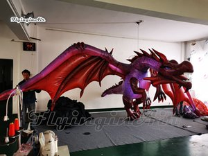 Wholesale dragon flies resale online - Hanging Lighting Inflatable Flying Dragon m Red Giant Blow Up Pterosaur Model Balloon With LED Lights For Halloween Party Decoration