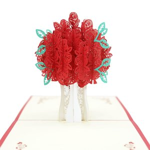 Wholesale handmade 3d pop up greeting cards for sale - Group buy Rose Pop up Engraving Card D Creative Greeting Cards Romantic Red Flower Handmade Card Valentines Day Gift Card Customized DHD3870