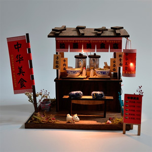 Wholesale japanese housing for sale - Group buy Creative Chinese Style Japanese Style House wooden hand assembled Street View theater DIY ornaments food and play model toys