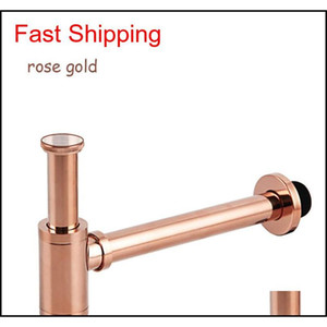 Wholesale drain pipes resale online - High Quality Brass Body Basin Wast Drain Wall Connection Plumbing P traps Wash Pipe Bathroom Sink Trap Black br qylADG toys2010