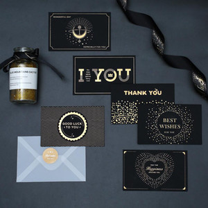 Wholesale thank cards resale online - black bronzing greeting card thank you happy birthday I love you print wedding invitations envelope card holiday blessing card EWA2458