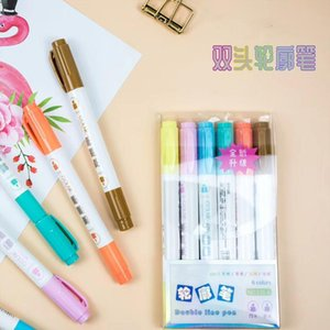 Wholesale diy note books resale online - 6 sets of double headed writing double outline colored art notes marker highlighters book clips magazines poster CARDS DIY