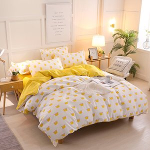 Wholesale queen king crowns for sale - Group buy Bonenjoy Yellow Crown Single Bed Set Reactive Printed Simple Double Bed sheet ropa de cama Queen Bed Linen King Size Bedding